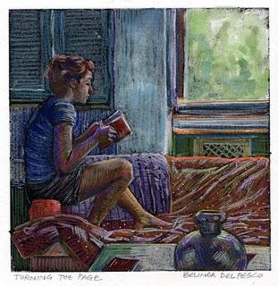 """Monotype: Turning the Page"" original fine art by Belinda Del Pesco"