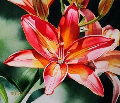 """Sunburst"" original fine art by Jacqueline Gnott, TWSA, WHS"