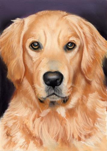 """Golden retriever pet portrait SOLD"" original fine art by Ria Hills"