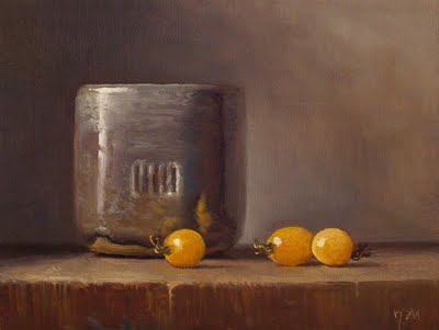 """Still Life with Cup and Sun Gold Tomatoes"" original fine art by Abbey Ryan"