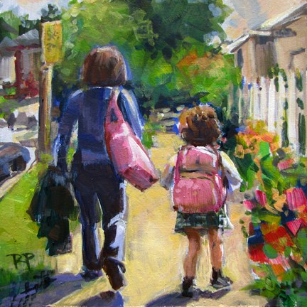 """""""Walking with mom"""" original fine art by Robin Peterson"""
