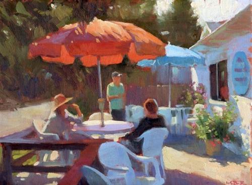 """Orange and blue"" original fine art by Kathy Weber"