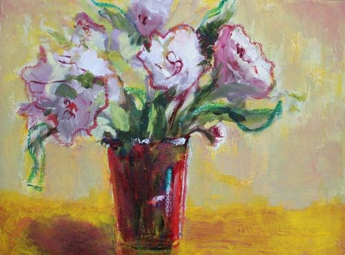 """""""Peonies In Red Vase by Arizona Artist Amy Whitehouse, Oil on Canvas 12 x 16 inches"""" original fine art by Amy Whitehouse"""