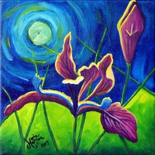 """""""Moonlight & Irises"""" original fine art by Monique Morin Matson"""
