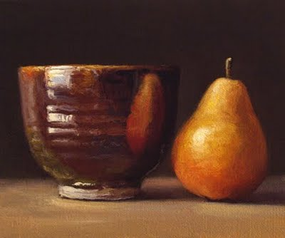 """Still Life with Seckel Pear and Iron-glazed Bowl"" original fine art by Abbey Ryan"