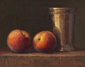 """""""Still Life with Two Peaches & Silver Cup"""" original fine art by Abbey Ryan"""