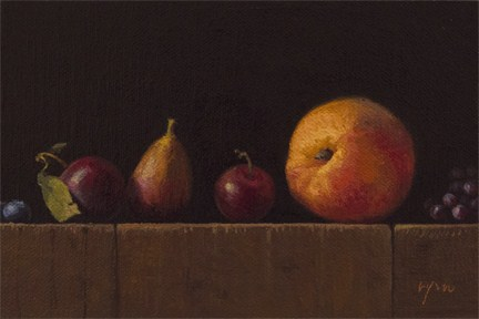 """""""Golden Series: Blueberries, Plums, Fig, Peach, and Champagne Grapes"""" original fine art by Abbey Ryan"""
