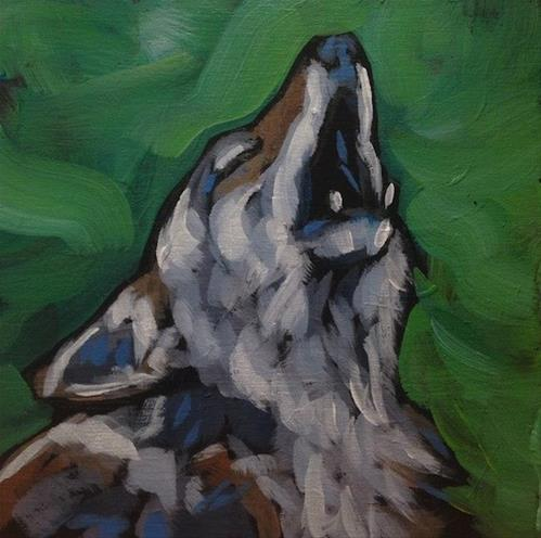 """One Coyote Howling"" original fine art by Kat Corrigan"