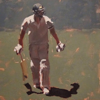 """""""BATSMAN 4 - Cricket at the MCG"""" original fine art by Helen Cooper"""