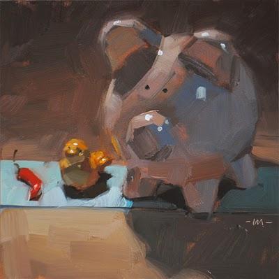"""Pecking Order"" original fine art by Carol Marine"