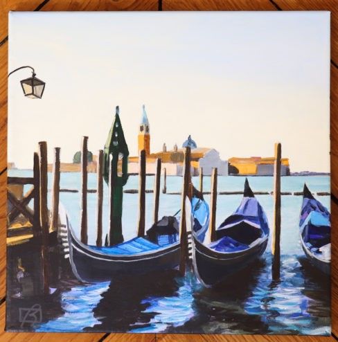 """Venice Gondolas in the Morning"" original fine art by Andre Beaulieu"