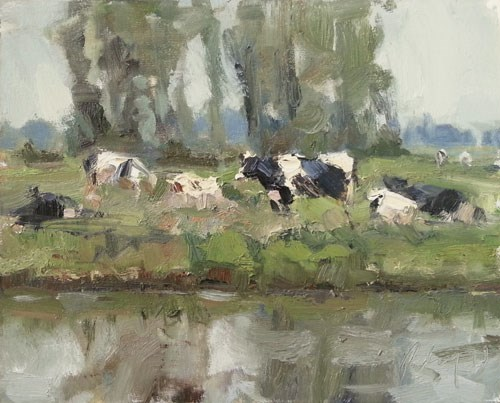 """""""Painting Cows"""" original fine art by Roos Schuring"""