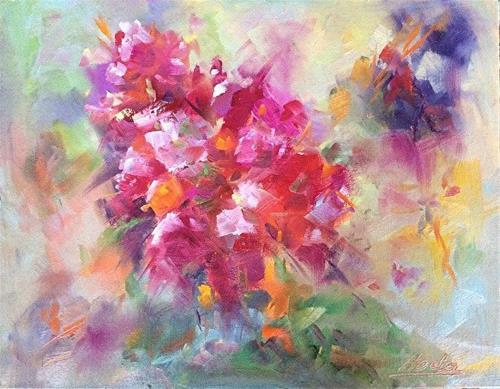 """Orchid inspired 3"" original fine art by Hoda Nicholas"