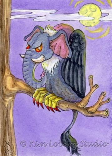 """Elephant Vulture"" original fine art by Kim Loberg"