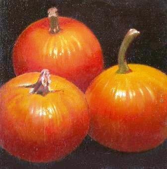 """Three Pumpkins"" original fine art by Stuart Graham"