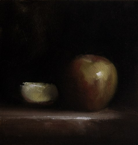 """Apple with Slice"" original fine art by Neil Carroll"