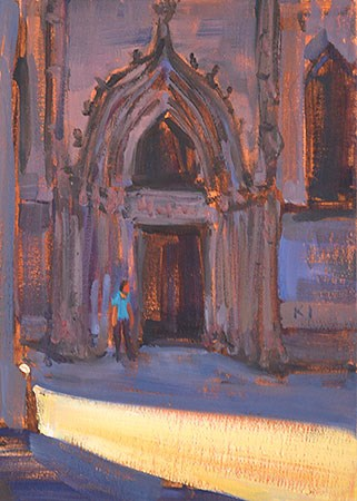 """""""Barcelona Cathedral"""" original fine art by Kevin Inman"""