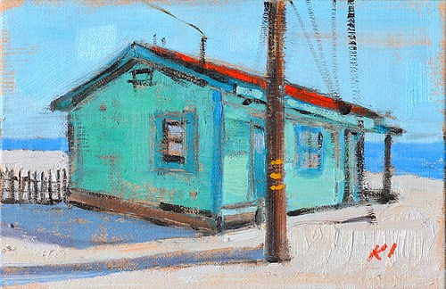 """""""Crystal Cove Beach Cottage Painting"""" original fine art by Kevin Inman"""