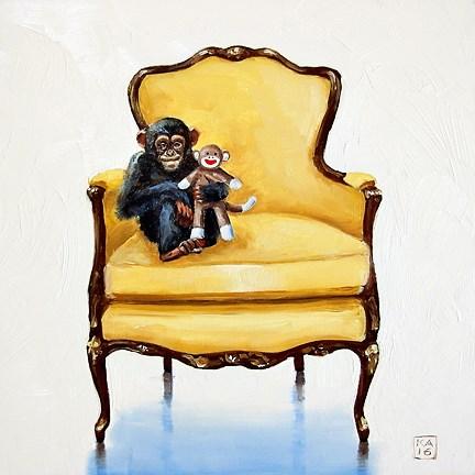 """chimp off the ol' block"" original fine art by Kimberly Applegate"