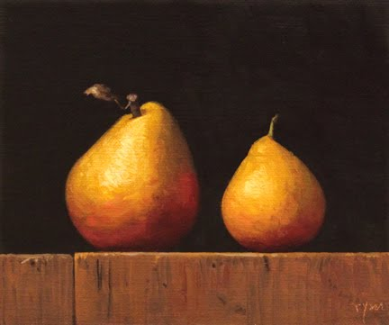 """Two Golden Pears"" original fine art by Abbey Ryan"