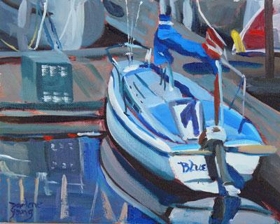 """Blue"" original fine art by Darlene Young"