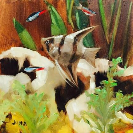 """Angel Fish"" original fine art by Elaine Juska Joseph"