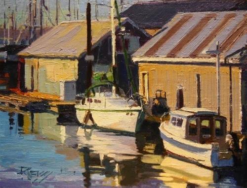 """Dock Mates  plein air, marinescape, oil painting by Robin Weiss"" original fine art by Robin Weiss"