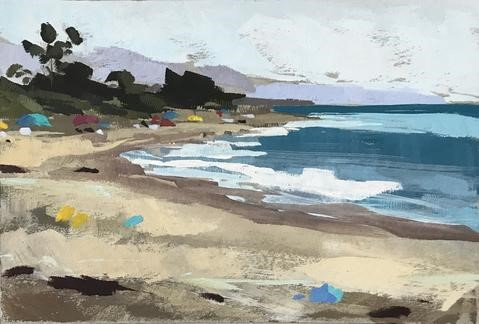"""Carpinteria Beach Plein Air"" original fine art by Sharon Schock"