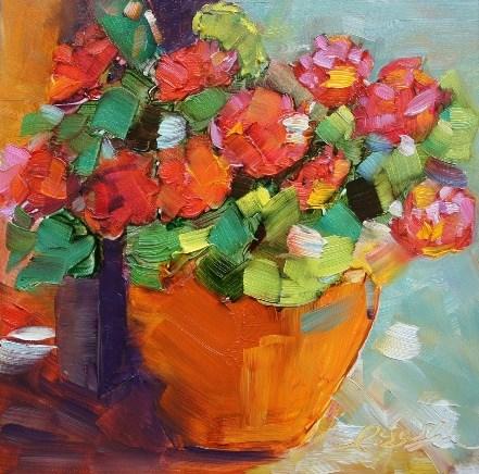 """Geraniums"" original fine art by Lisa Fu"