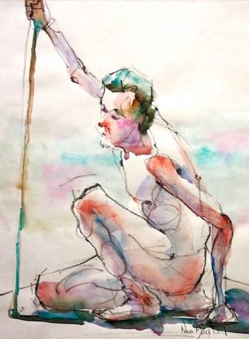 """""""resting warrior"""" original fine art by Nora MacPhail"""