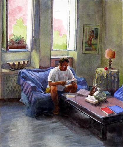 """""""Watercolor: What're we doing Today (& Digital vs Paper Books)"""" original fine art by Belinda Del Pesco"""