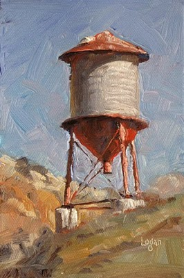 """Agua Dulce Water Tower"" original fine art by Raymond Logan"
