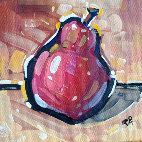 """Pear abstraction 4"" original fine art by Roger Akesson"