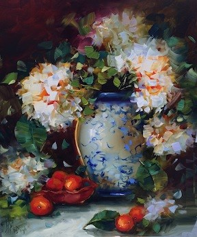 """""""Orange Blossoms and Hydrangeas and a Tennessee Workshop - Flower Paintings by Nancy Medina"""" original fine art by Nancy Medina"""