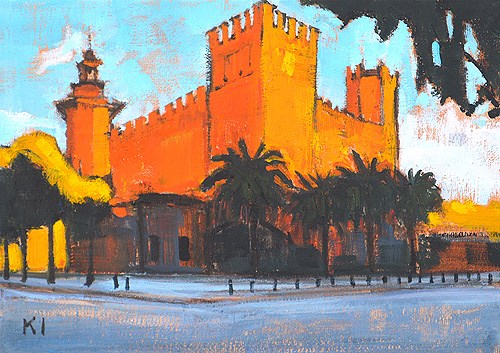 """Castle of the 3 Dragons, Barcelona"" original fine art by Kevin Inman"