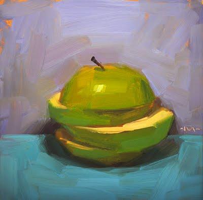 """""""Green Stack Skewed"""" original fine art by Carol Marine"""