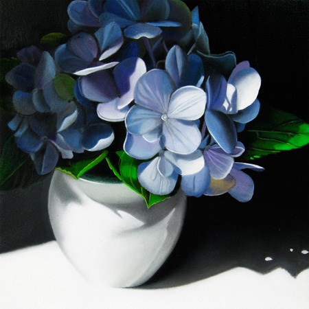 """Blue Hydrangea In Shadow 6x6"" original fine art by M Collier"