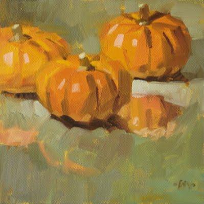 """Pumpkin Puddle & Get Down Now!"" original fine art by Carol Marine"