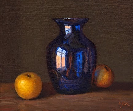 """""""Still Life with Blue Vase and Asian Pears"""" original fine art by Abbey Ryan"""