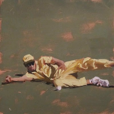 """""""IN THE FIELD - Cricket at the MCG"""" original fine art by Helen Cooper"""