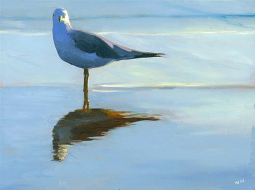 """EYE TO EYE WITH A SEAGULL"" original fine art by Nancy Herman"