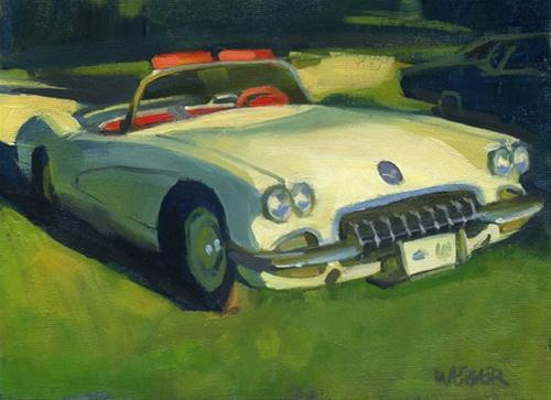 """'58 Corvette oil painting"" original fine art by Kathy Weber"