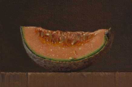 """Canteloupe Slice   (+ Time-Sensitive Workshop Poll)"" original fine art by Abbey Ryan"