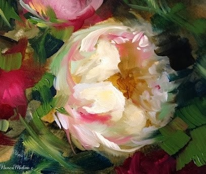 """""""Pink Peony Solo and a Gift for You by Floral Artist Nancy Medina"""" original fine art by Nancy Medina"""