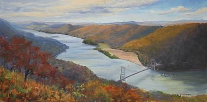 """Autumn Over the Hudson from Bear Mountain"" original fine art by Jamie Williams Grossman"