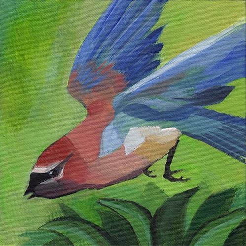 """""""Waxwing in Flight"""" original fine art by J M Needham"""