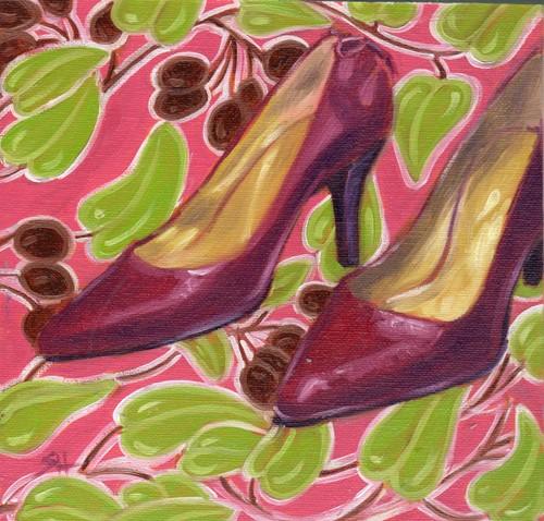 """""""Di's cute pumps"""" original fine art by Sandy Haynes"""