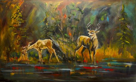 """WHITETAIL LANDSCAPE OIL PAINTING ORIGINAL ANIMAL ART ARTOUTWEST DIANE WHITEHEAD NOVEMBER 19"" original fine art by Diane Whitehead"