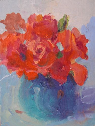 """""""Birthday Roses, Acrylic Floral Still Life"""" original fine art by Amy Whitehouse"""