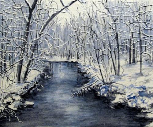 """Winter Stream"" original fine art by Nan Johnson"
